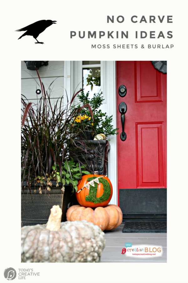 Fall porch with pumpkins and red door