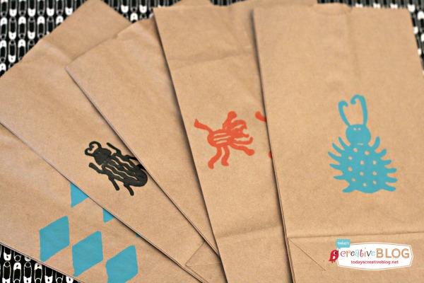 DIY Goodie Bags | Bug Stamped Party Bags | TodaysCreativeBlog.net | Skiptomylou.org