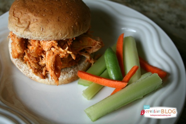 Crock Pot Shredded Buffalo Chicken   Menu planning just got easier! This easy slow cooker dinner idea is delicious and satisfying. Click the photo for the recipe on TodaysCreativeLIfe.com