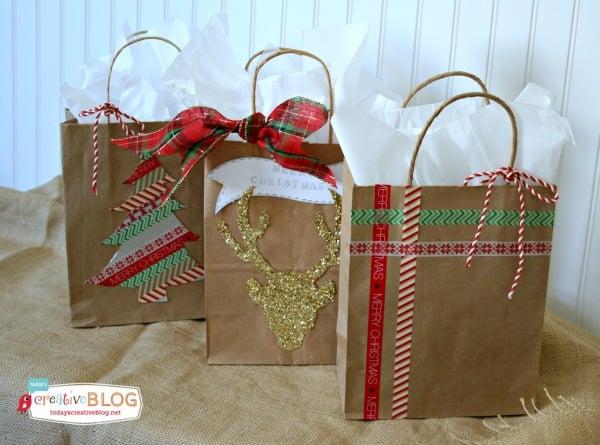 How to Make Reusable Gift Bags |White Christmas Diy Gift Bags