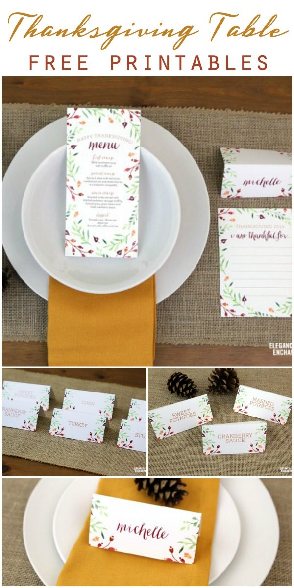 Free Thanksgiving Table Printables | Printable placecards | Printable menu | Give Thanks note | Free printables | Elegance and Enchantment for TodaysCreativeLife.com