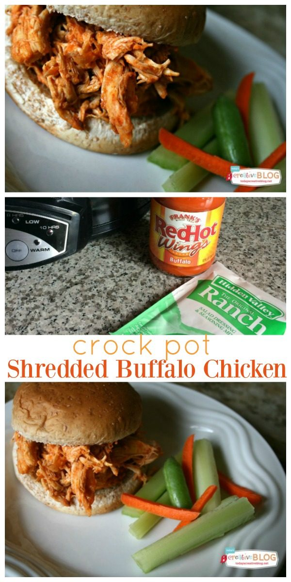 Crock Pot Shredded Buffalo Chicken | Menu planning just got easier! This easy slow cooker dinner idea is delicious and satisfying. Click the photo for the recipe on TodaysCreativeLIfe.com