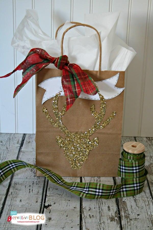 easy gift bags glittered deer