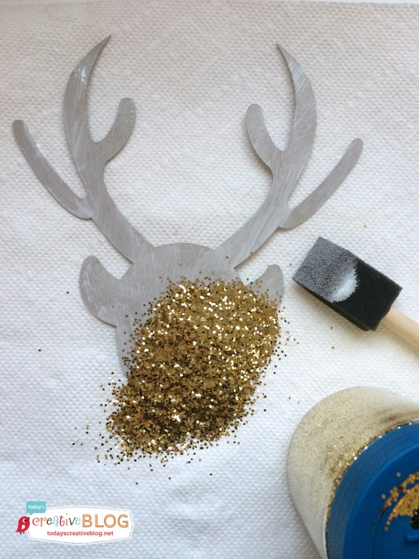 glittered deer head
