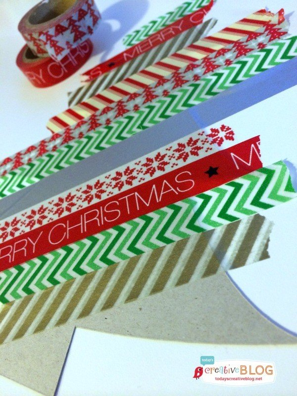 Easy DIY Gift Wrap | Quick and easy holiday gift wrapping using gift bags, glitter and washi-tape! Create your own templates and create simple fun designs! See a full tutorial on TodaysCreativeLife.com