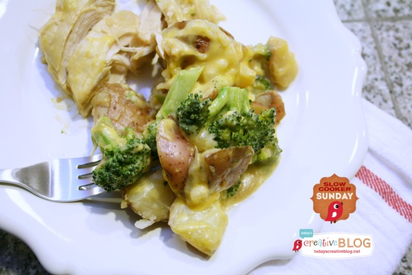 Slow Cooker Cheesy Chicken Broccoli Potato Casserole | TodaysCreativeBlog.net