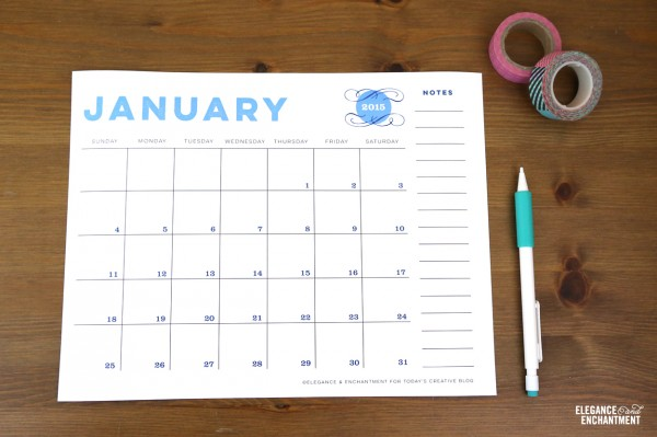 Free Printable 2015 Calendar Today S Creative Blog