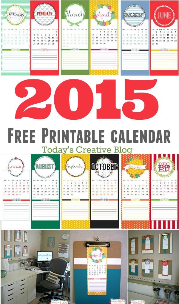 2015 Calendar FREE Printable | Today's Creative Life