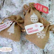 DIY Stamped Burlap Gift Bags