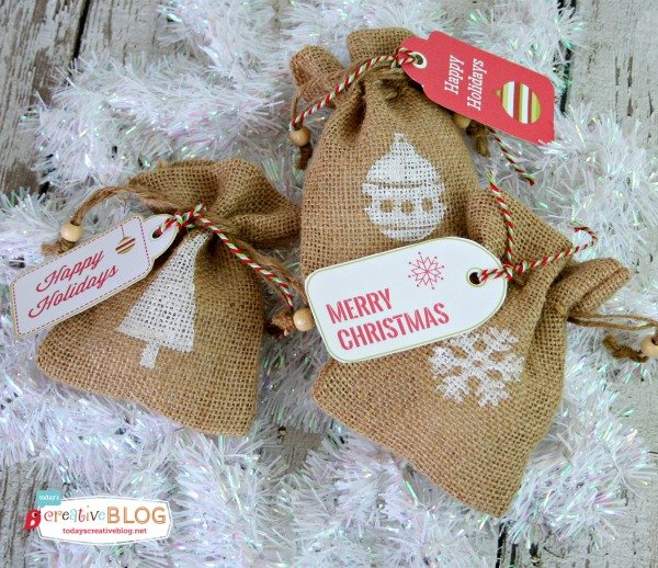 Diy stamped burlap gift bags todays creative life diy stamped burlap gift bags create beautiful and easy gift wrapped presents by using burlap solutioingenieria Image collections