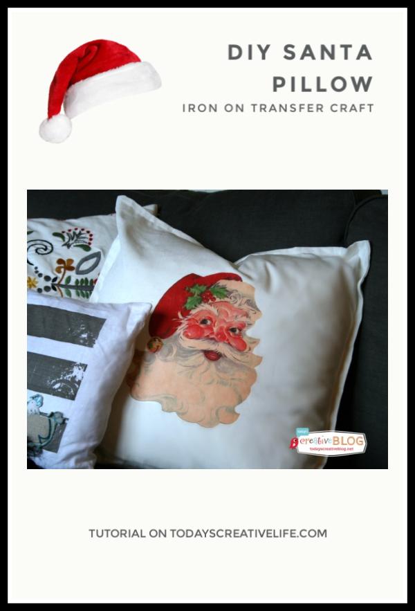 santa pillow on sofa