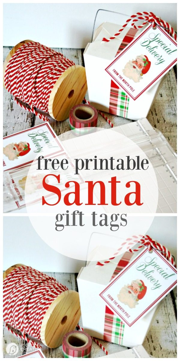 Santa's Special Delivery Printable Tags | Free Printables | Printable gift tags | Holiday and Christmas Gift tags | Vintage | TodaysCreativeLife.com #Christmas #FreePrintables #Gifttags