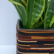 DIY Leather Wrapped Planter