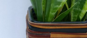 DIY-Leather-Wrapped-Planter | TodaysCreativeBlog.net