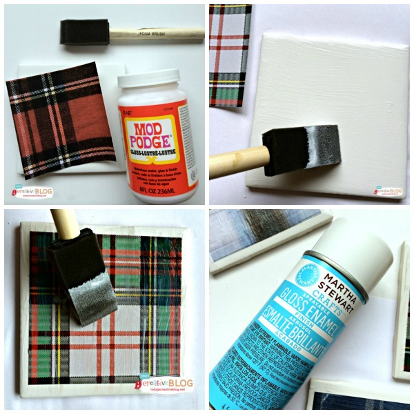 Decoupage Crafts | DIY Tile Coasters with Tartan Plaid | TodaysCreativeblog.net