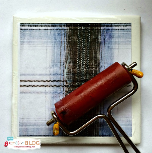 Mod Podge Crafts | DIY Tile Coasters with Tartan Plaid | TodaysCreativeblog.net