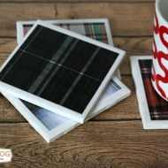DIY Tile Coasters with Tartan Plaid