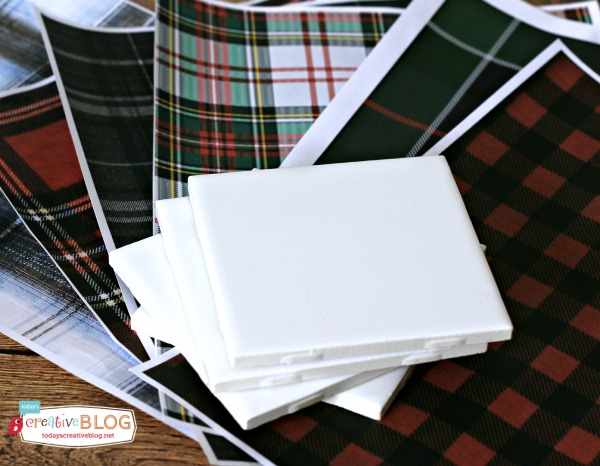 DIY Tile Coasters with Tartan Plaid | TodaysCreativeblog.net