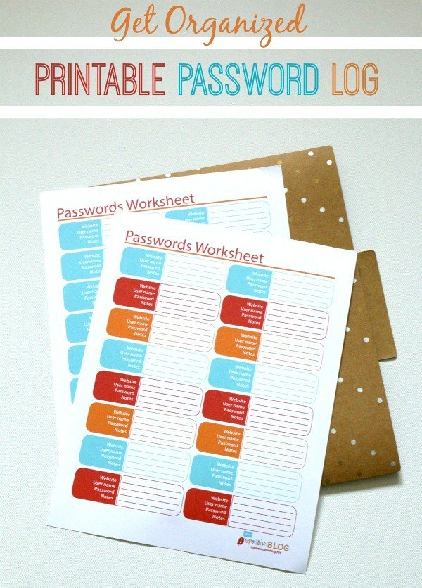 Free Printable Password Log | Keep track of all your passwords easily with this free password tracker printable. Click the photo to get yours.
