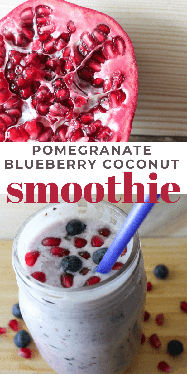 Pomegranate Blueberry Coconut Smoothie recipe served in a mason jar.