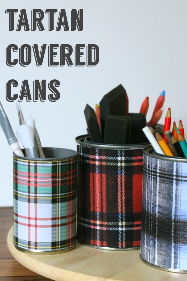 Tartan Covered Cans |Tartan Plaid is all the rage! Make plaid covered tin cans for a stylish way organize your desk! See Tutorial and matching plaid coasters on TodaysCreativeLife.com