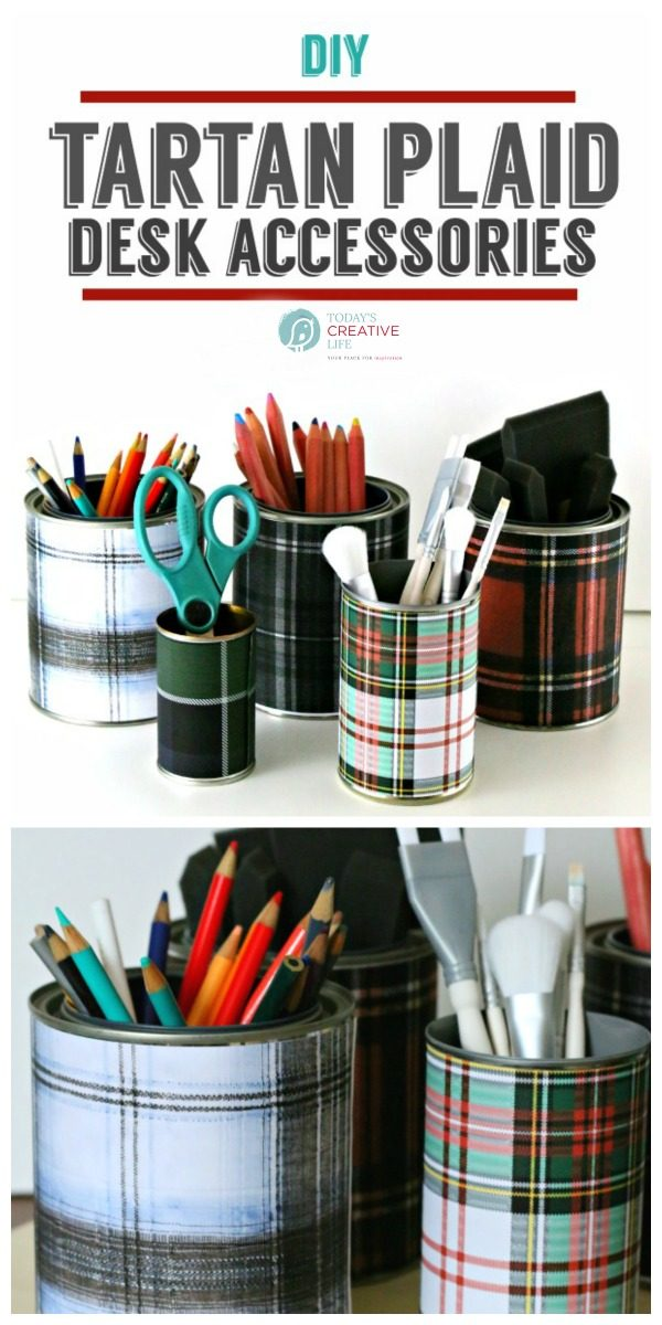 DIY Tartan Plaid Desk Accessories | Easy Craft Ideas | Decorate your Office | Organize your Desk | TodaysCreativeLife.com