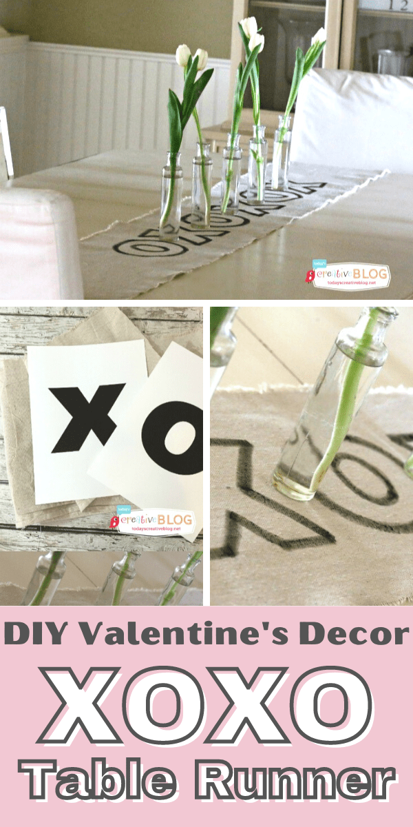 Photo Collage of a diy XOXO Valentine's Day Table Runner