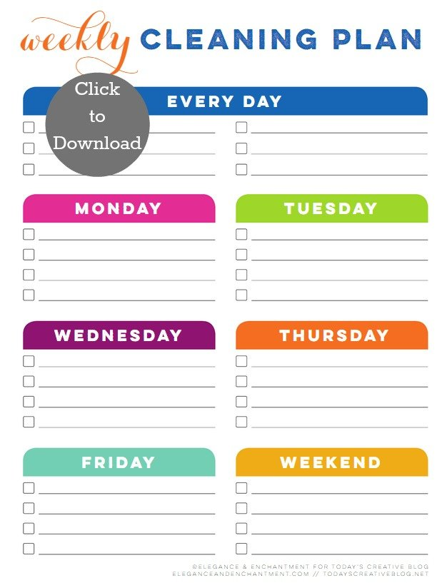 Weekly cleaning schedule printable today 39 s creative life for Janitorial schedule template