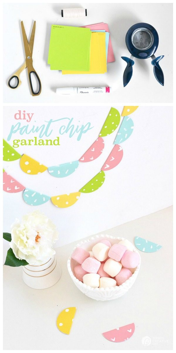DIY Paint Chip Garland | Easy to make birthday banner | Paint Chip Craft Ideas | Make & Tell Blog for TodaysCreativeLife.com