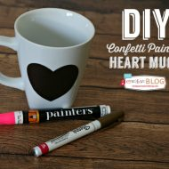 DIY Confetti Painted Heart Mugs