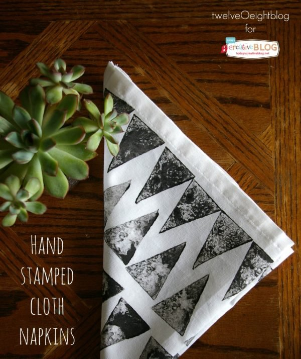 Hand Stamped Cloth Napkins | How to stamp on fabric | Making a potato stamp | by TwelveOeightBlog for TodaysCreativeLife.com