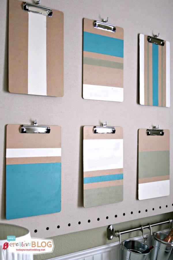 DIY ColorBlock ClipBoards | Office makeover | TodaysCreativeBlog.net