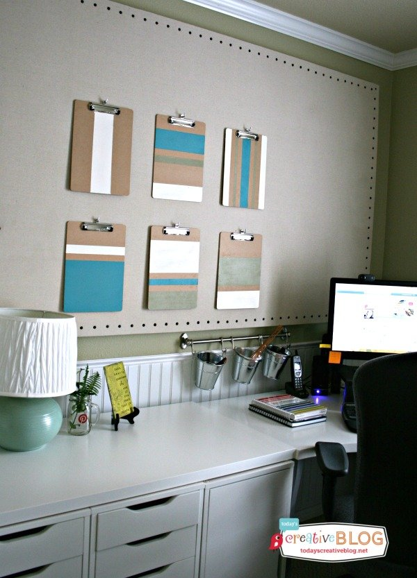 DIY ColorBlock ClipBoards | Office makeover | TodaysCreativeBlog.net