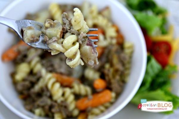 Crockpot Beefy Noodle Casserole | TodaysCreativeBlog