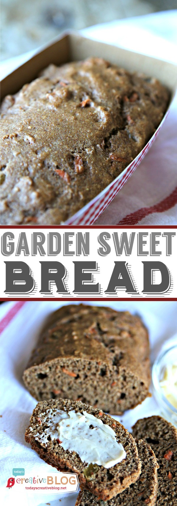 Garden Sweet Bread Recipe | This recipe was given to me by the chef at Rancho LaPuerta, a famous spa. It's a quick bread full of flavor and a hint of sweetness. Healthy and wholesome. TodaysCreativeLife.com