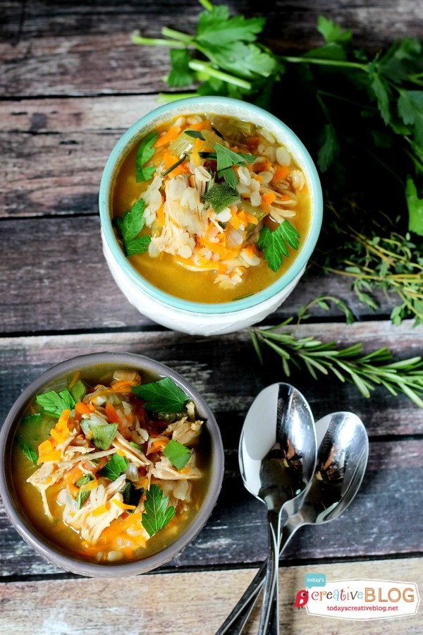 Slow Cooker Turkey Barley Soup | Slow Cooker Sunday | TodaysCreativeblog.net