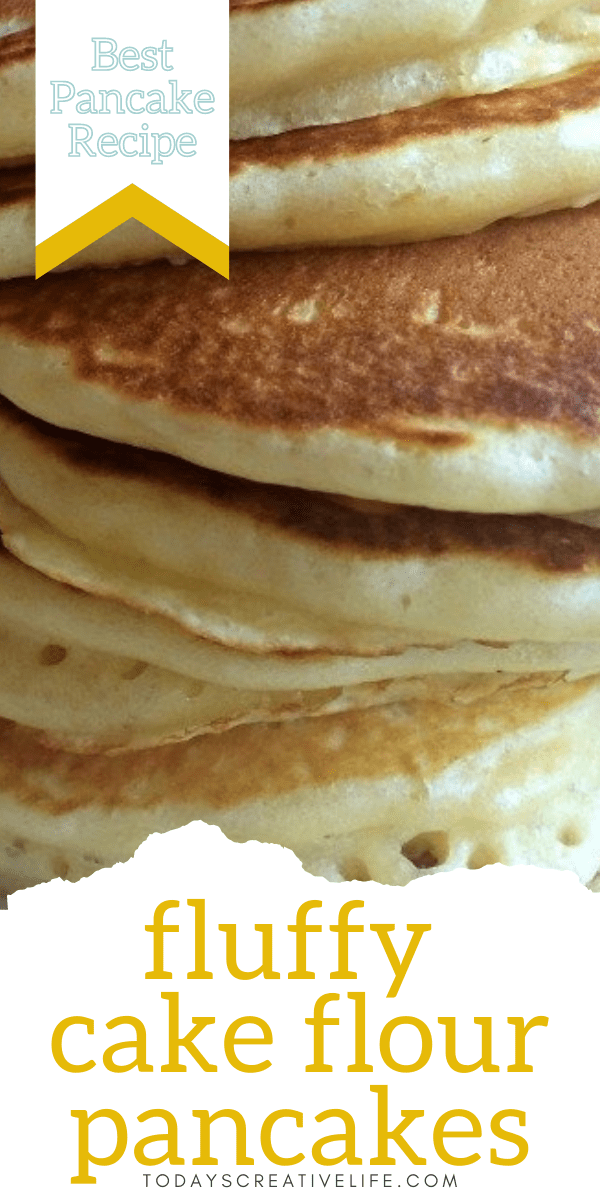 Fluffy Cake Flour Pancake Stacked. Recipe for pancakes made with cake flour.