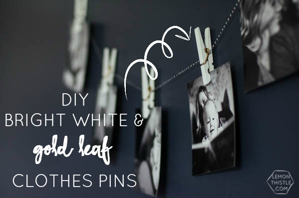 DIY Bright White Clothespins with Gold Coil | TodaysCreativeBlog.net