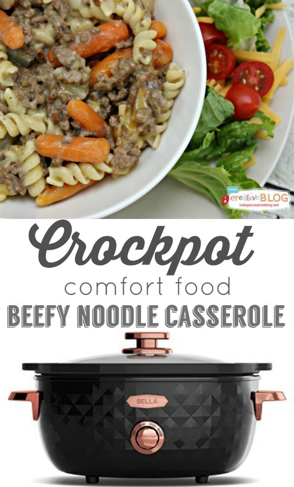 Crockpot Beefy Noodle Casserole |Comfort Food | Slow Cooker Family- Friendly recipes | Pasta recipes | Find it on TodaysCreativeLife.com