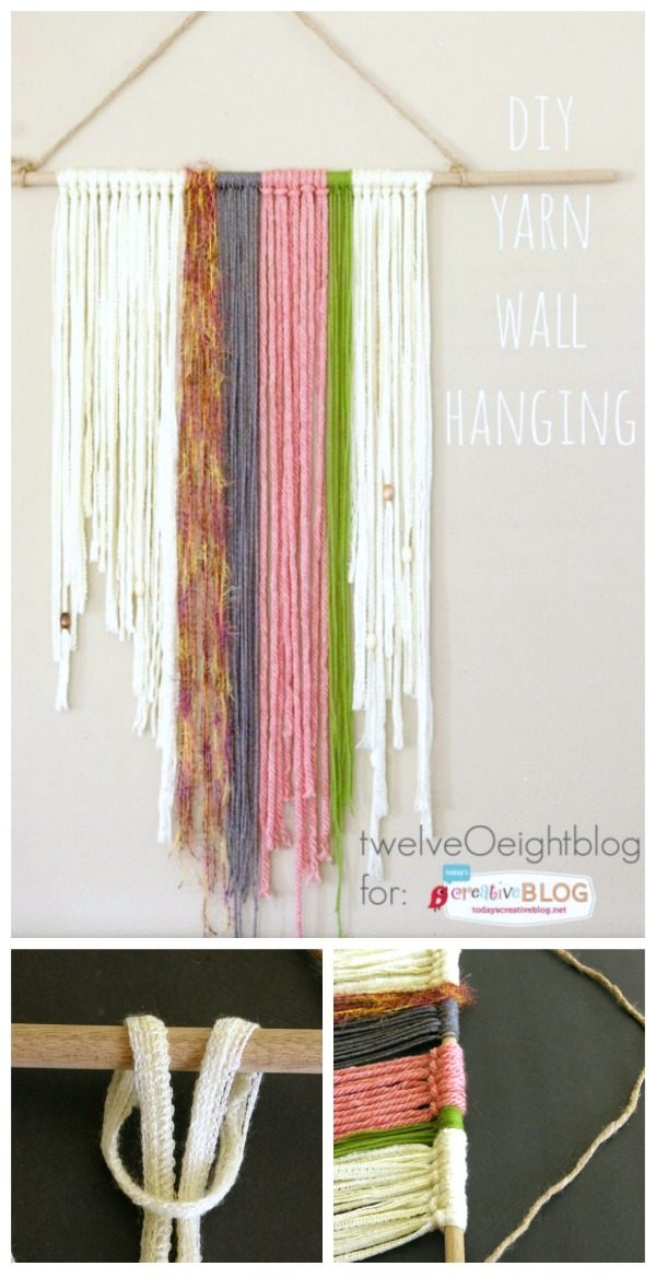 DIY Yarn Wall Hanging | Macramé is coming back! Woven Yarn Crafts and DIY for creative bohemian style decorating. See the tutorial on TodaysCreativeLife.com