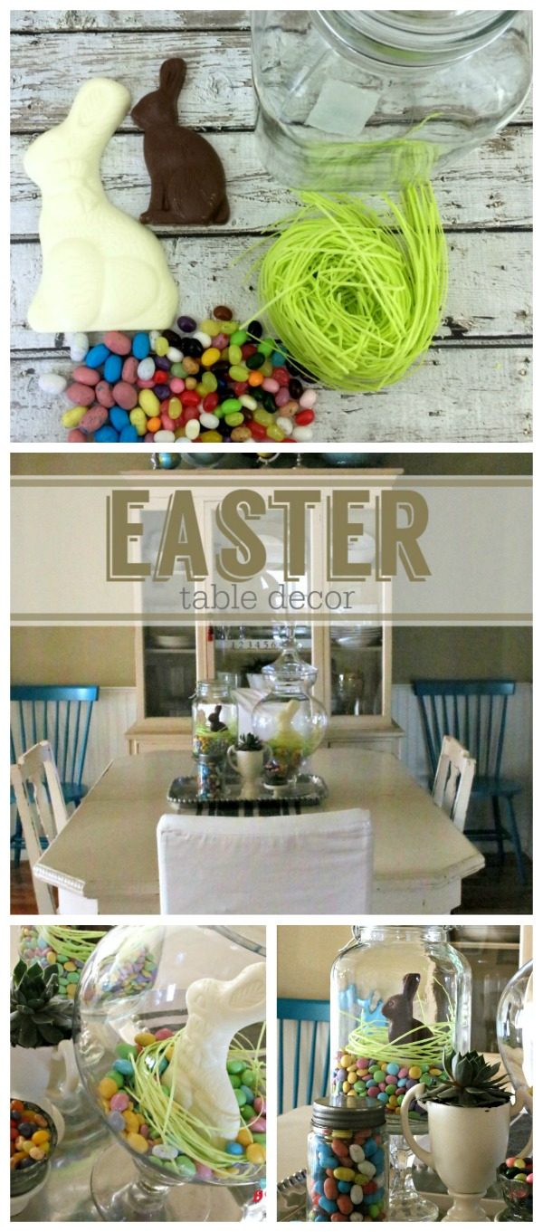 Easter Table Decorating Ideas | Easter Candy for quick & easy table decor | Any jar or apothecary jar is perfect for holiday decorating | see more on TodaysCreativeLIfe.com