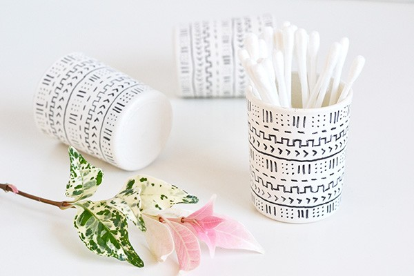 DIY Mud Cloth Inspired Votives | TodaysCreativeBlog.net