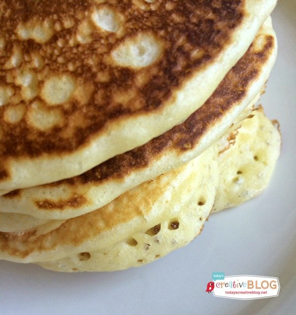 stack of fluffy cake flour pancakes