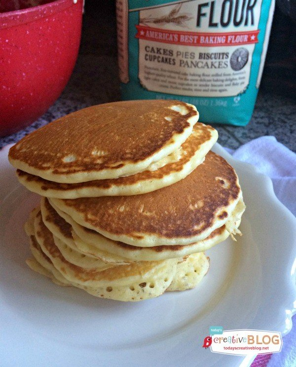 golden brown homemade pancakes made with cake flour