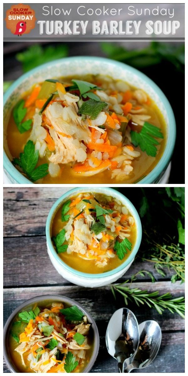 Slow Cooker Turkey Barley Soup | Crockpot Soup Recipes | Hearty Winter Soup Ideas | Healthy Dinner ideas | TodaysCreativeLife.com