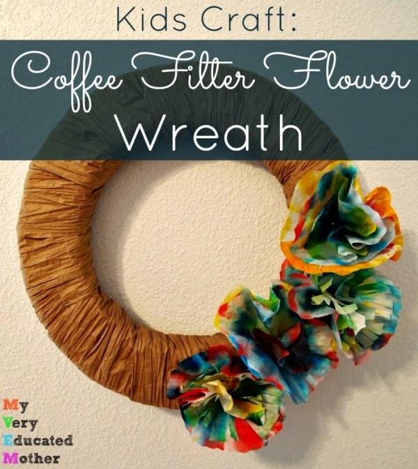 Coffee Filter Flower Wreath Tutorial | TodaysCreativeBlog.net