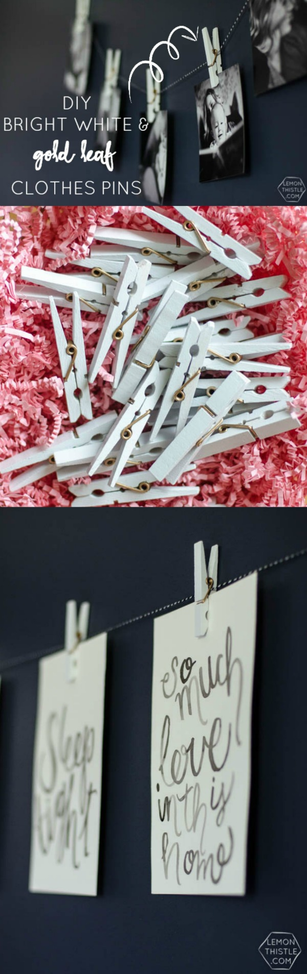 DIY White and gold coil clothespins | TodaysCreativeBlog.net