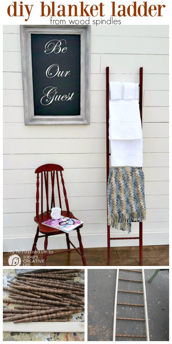 Old Wood Spindles Idea | DIY Blanket Ladder | Re-Purpose DIY | Home Projects | Repurposed Life for TodaysCreativeLife.com