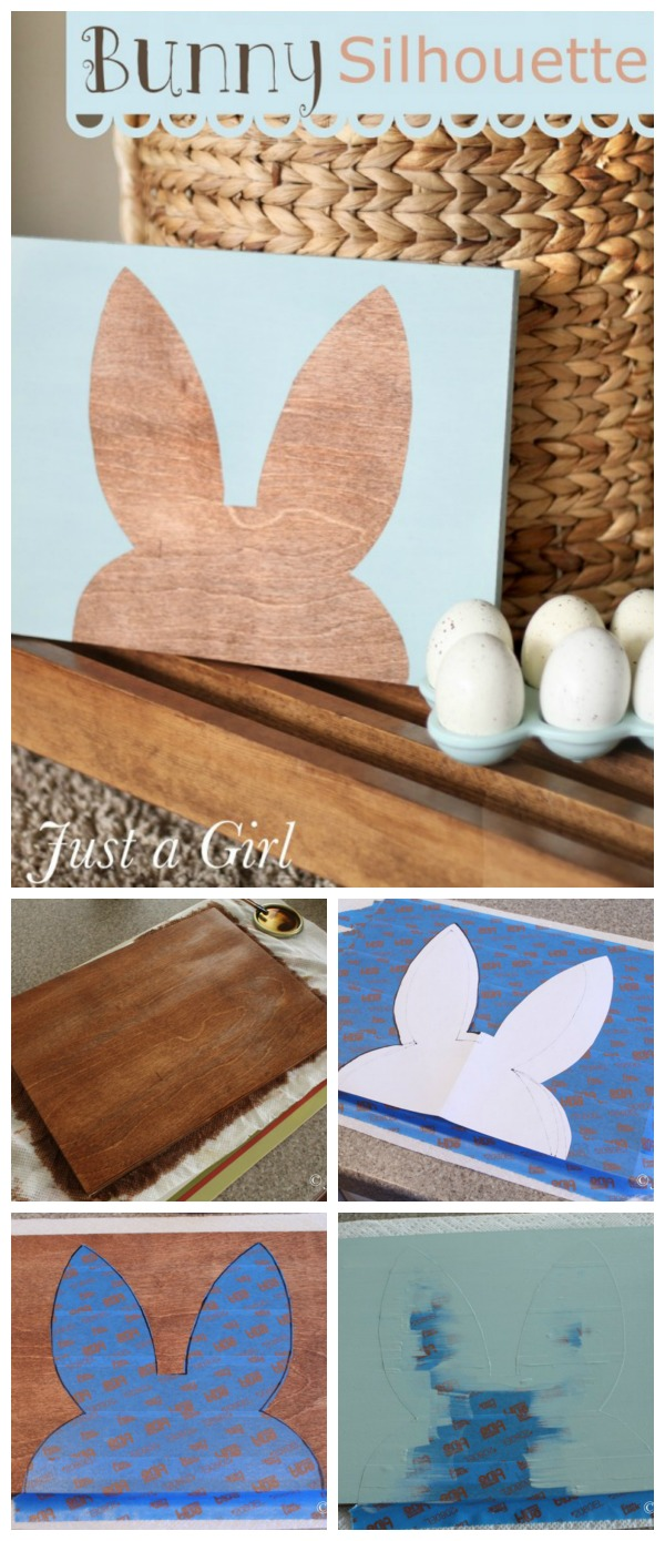 Bunny Silhouette Wall Art | Create your own DIY Easter Decor wall art. Guest poster, Chris from Just a Girl shares this tutorial with TodaysCreativeLife.com