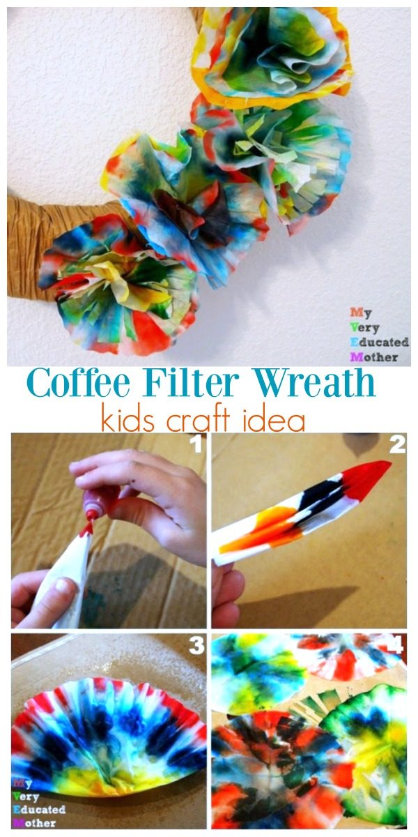 Coffee Filter Flower Wreath DIY Kids Project | Kids Craft Ideas | Kids activities | Easy craft ideas | TodaysCreativeLife.com